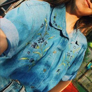 vintage floral denim button up shirt